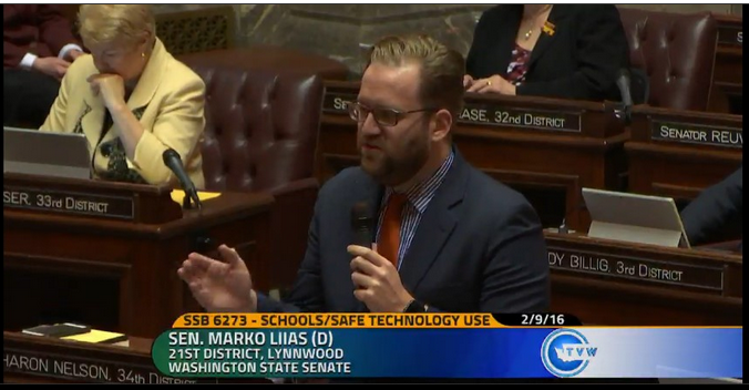 State Sen. Marko Liias (D-Lynnwood) spoke to his colleagues about media literacy and digital citizenship on the floor of the state senate.