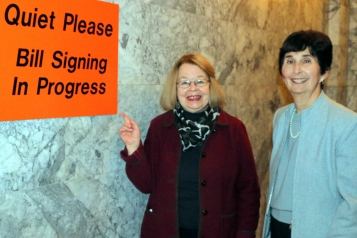 Pictured: Barbara Johnson, Action for Media Education and Marilyn Cohen, NW Center for Media Literacy, College of Education, UW