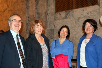 Pictured left to right: Dennis Small, Educational Technology Director, Office of Superintendent of Public Instruction, Sharyn Merrigan, Teacher-Librarian, Olympia School District, Jessica Vavrus, Washington State School Directors' Association and Carolyn Logue, Washington State Library Association.