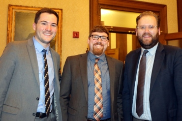 Pictured left to right: Evan Smith, Legislative Assistant, Curt Kohlwes, Executive Legislative Assistant and Sen. Marko Liias 21st District-Lynnwood.